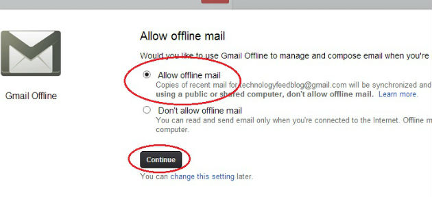 Select Allow Offline Gmail